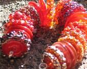 """Handmade Glass Lampwork disc disk Beads """"Red"""" filler focal glass art"""
