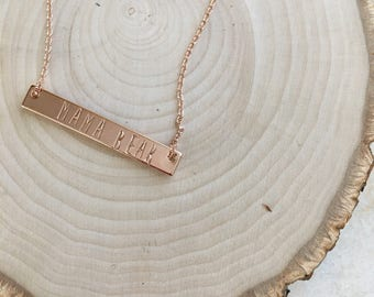 Rose Gold Plated Bar Necklace. Dainty. Mama Bear.