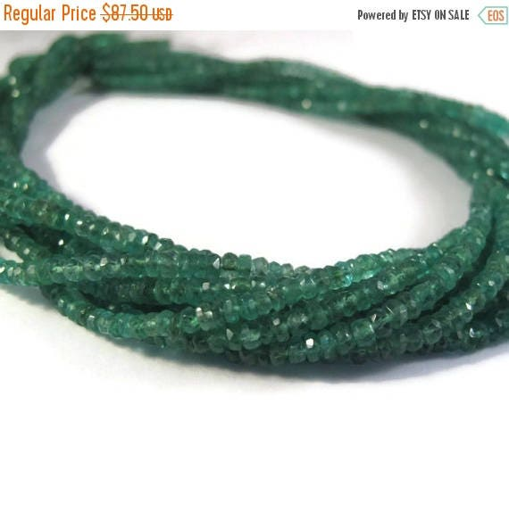 Summer SALEabration - Natural Emerald Beads, 14 Inch Strand of Non Treated Faceted Rondelles, 3mm, Natural Gemstones for Jewelry Making (Lux