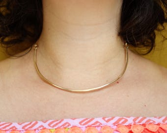 Gold Collar Choker Necklace - Half Chain, Half Solid