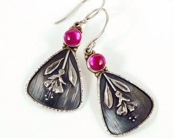 Fuchsia Earrings - Dark Oxidized Sterling Silver Floral Earrings with Pink Rubies