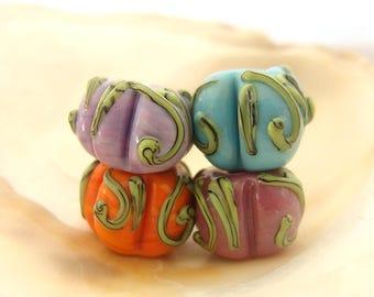 4 Pumpkin Beads Handmade Lampwork