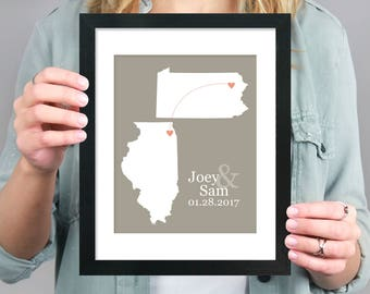 Two States Map, Gift for Couple, Personalized Engagement Map, Long Distance Family, Miss You Map, Personalized Long Distance Map