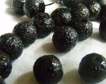 SALE 30% Off Black Textured Pearlized Glass Beads 10mm Round 25 Pcs