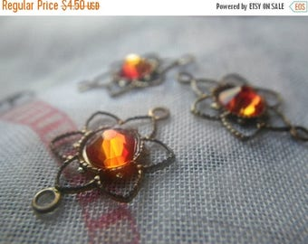 SALE 30% Off Fire Opal Dahlia Open Floral Brass Ox Connectors 4 Pcs
