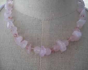 Necklace, Rose and Cherry Quartz Choker, Handstrung