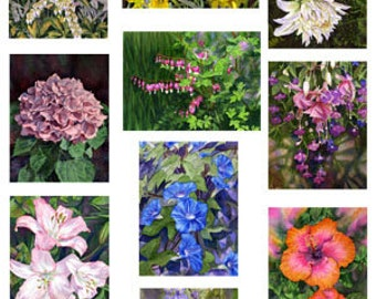 Set of 10 Floral Greeting Cards
