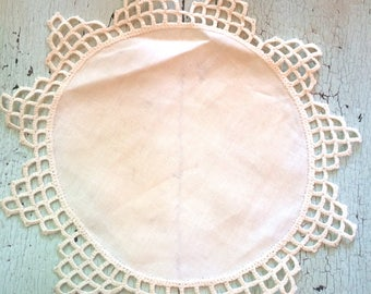 Vintage Linen Doily with Crocheted Edge