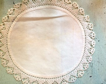 Vintage Linen Doily with Crocheted Border 10""