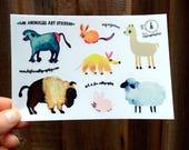 Los Animales, Vinyl Animal Stickers - Kiss Cut Sticker Sheet, Waterproof Stickers, Cute Laptop Stickers, Animal Art