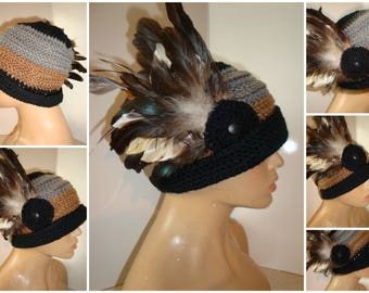 3 tones - Grey Black and Brown Cloche Hat with Feathers - Crochet Hat - Grey Black and Brown Hat - Crochet Cap
