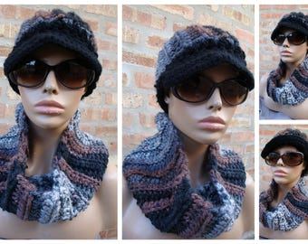 Crochet Hat set Black/Grey/Brown Blend Hat and Neckwarmer Set - Cowl, Cap, Crochet hat set - handmade cap and scarf - Custom Colors