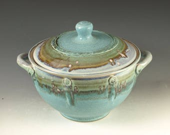 4 qt Casseroles in turquoise glaze, Great wedding gift & holiday gathering, wheel thrown stoneware pottery
