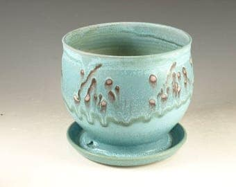 Pottery planter in turquoise glaze, flower, herb plant stoneware
