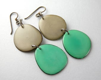 Light Gray and Teal Green Tagua Nut Eco Friendly Earrings with Free USA Shipping #taguanut #ecofriendlyjewelry