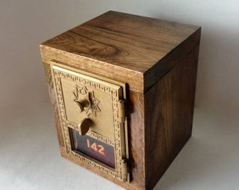 Maple Safe w/ Brass Bronze Postal Door 142 Grecian PO Combination Lock Box Bank Groomsman Wedding 5th 8th Anniversary USPS Retirement Gift