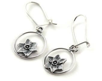 Handmade Daffodil Drops Sterling Silver Earrings