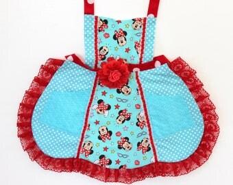 Minnie Mouse Boutique Apron,  girls apron, toddler apron