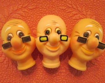 "Doll Making Supplies - Eight ""Old Man"" Doll Heads - Destash"