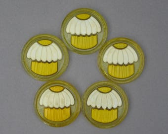 1970s Colorflo Resin Coasters Mod Daisy Flower Yellow & White Cupcake Drink Coasters Acrylic Lucite Coasters Set of 5