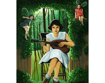 FAIRY GARDEN MUSIC  Fantasy Print from original oil painting