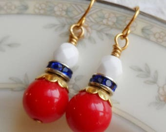 75% Off Sale, Fourth of July, Red, White, and Blue, Czech Glass, Gold Accent, Rhinestone and Vintage Bead Earrings