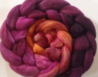 Hand Dyed roving for spinning or felting 2.4ozs 19micron merino silk 50/50
