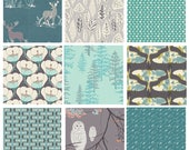 9 FABRIC QUILTING BUNDLE - Hello, Bear - Blithe - Nightfall - Art Gallery - Bonnie Christine - Woodland Deer Forest Trees Moths Blue Gray