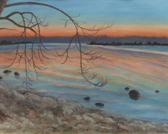 "Original pastel painting ""Daybreak on Amherst Island Number Two"" 8"" x 11"" neither mat nor frame are included"