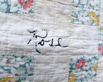"Antique Quilt Square ""Rose"" - Friendship quilt block - signed quilt - vintage cutter quilt - signature - embroidered - rustic farmhouse"