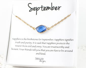 September Birthstone Sapphire Gold Necklace, September Birthday Gold Necklace, Sapphire Gold Necklace, Birthstone Jewelry