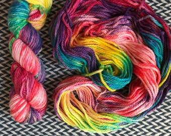 Hand-dyed yarn, Indie dyed yarn, hand dyed yarn PARTY LIKE a ROCKSTAR --ready to ship-- Brooklyn Bridge worsted weight superwash merino yarn