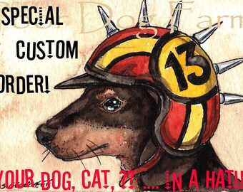 Special CUSTOM ORDER.  Your cat. dog, rat, pig, ..whatever? in a HAT