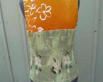 Upcycled Shirt, Handmade Tunic, Orange Green, Refashion Clothing, Sleeveless Shirt, Flowers, Recycled Clothing, Unique Clothing, Urban Chic