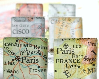 SUMMER SALE Vintage Map Sterling Silver Square Cufflinks. You Select the Journey.  Christmas Gift