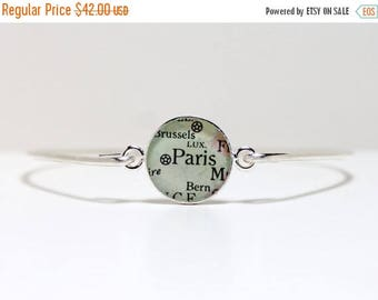 SUMMER SALE Personalized Vintage Map Bangle Bracelet, bridesmaid gift, gift for her, engagement gift, gift for women, gift for bride, gift f