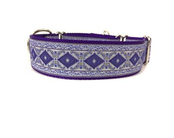 Wide 1 1/2 inch Adjustable Buckle or Martingale Dog Collar in  Purple Passion