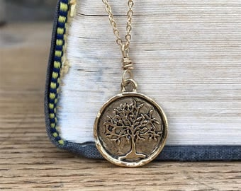 Tree of Life stamped brass coin necklace