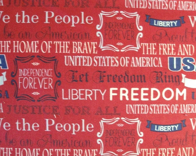 Mary Fons Fabric Patriotic America Red White Blue Text Quilting cotton USA Fabric Header Pieces