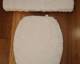 Shabby Pink Chenille White Rose Toilet Seat Cover Set