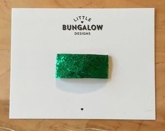 Emerald Green Chunky Glitter Snap Hair Clips // Glitter Snap Clip // Glitter Hair Clip // Barrette // Green Glitter