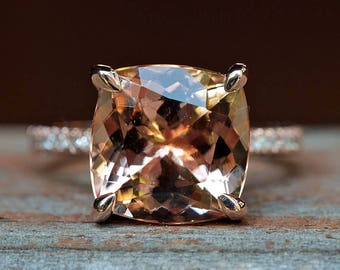 """Peach Morganite Engagement Ring - 11mm Square Cushion """"Beverly"""" Ring with natural diamonds - by Laurie Sarah - LS4595"""