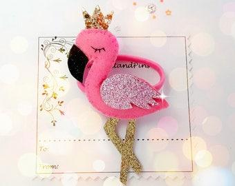 handmade hair ties, Flamingo hair tie, Handmade felt padded Flamingo bobble, Flamingo hair elastic, ponytail holder,pigtails