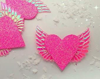 Hair clips, Pink glitter heart with Wings hair clip, Pink glitter heart barrette, Pink glitter heart hair slide