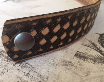 Leather Cuff Bracelet, Upcycled, Recycled Belt, Revamped, Brown, Weave, Southwestern