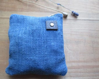 Indigo Dyed Hemp Prairie fashion Clutch Zipper Bag makeup pouch catchall toiletry storage bag Boho Modern Mom Classic cosmetic artist case