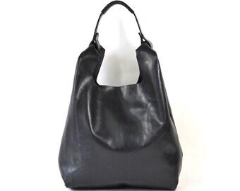 Bonnie - Handmade Perforated Black Leather Shopper Carrier Bag AW17