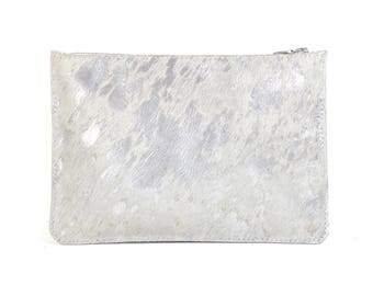 Coralie - Handmade Acid Washed Silver Leather Clutch Bag Zip Pouch Purse AW17