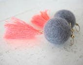 Color Pop Earrings, Neon Coral Pink and Grey, Tassels and Felted Wool Beads, on 18K Gold Fill Earrings