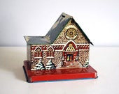 Tin Litho Church Bank, 1940s - 1950s U.S. Metal Toy, Cathedral Money Saver, Vintage Toy Building, Miniature Metal House, Children Gift